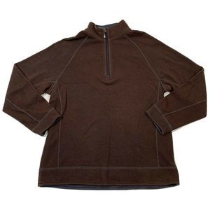 Tommy Bahama Mens L Brown Red Reversible 1/4 Zip